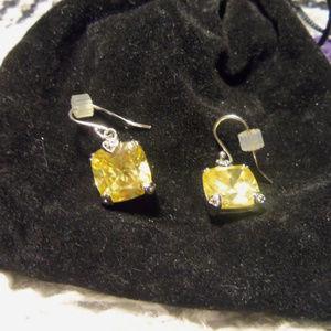 Judith Ripka .925 Citrine Lemon Wire Earrings